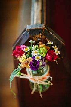 church wedding cute jam jar pew ends full - wedding Jam Jar Flowers, Pew Flowers, Fall Flowers, Bright Flowers, Pew Decorations, Church Wedding Decorations, Wedding Centerpieces, Tea Party Wedding, Fall Wedding