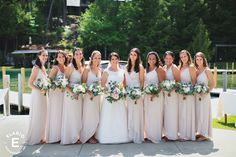 bridesmaids bouquets, neutral bridesmaid gowns, natural bouquets #fleurtaciousdesigns -Elario Photography