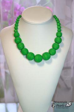 https://flic.kr/p/xRL1ij   Green polymer clay necklace   www.facebook.com/mountain.pearls