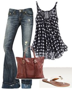 Keep the top. Change the jeans to a pair of colored shorts. With Wedges, and a simple clutch or side purse