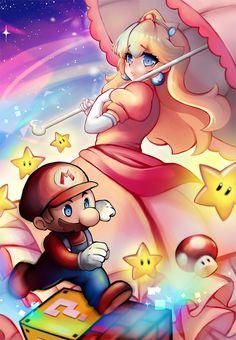 Super Mario and Peach by Yumekii