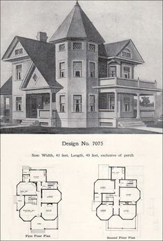 Design No. 7075 1908 Wilson & Girod Catalog by William A. Radford Co. Victorian House Plans, Old Victorian Homes, Vintage House Plans, Victorian Cottage, Antique House, Sims House Plans, House Floor Plans, The Sims, Sims 4