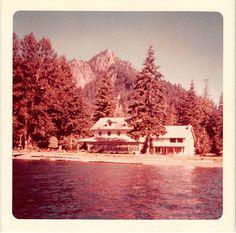 Photograph Snapshot Vintage Color Mountain Lake Cabin Shore 1970'S   eBay