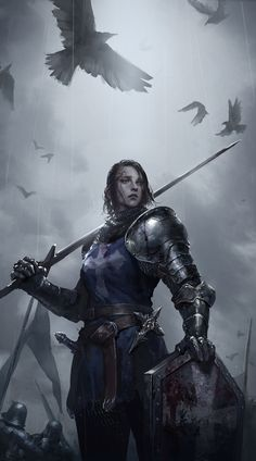 f Paladin Plate Armor Shield Longsword Dagger Symbol female Battle eastern border by JuYoung Ha lg Fantasy Queen, Fantasy Female Warrior, Female Knight, Fantasy Armor, Medieval Fantasy, Female Art, Digital Art Fantasy, Fantasy Art Women, Dark Fantasy Art