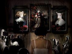 El Querido triptych of trays. ibride catalogue 2009-2010 #home #design #interior #decoration #aliceinwonderlands #wall #tray #goat www.ibride.fr