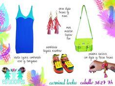 vestido lycra aqua + aros flecos mostacillas + maletin verde fluo + esclavas dijes + sandalias tequila rainbow.