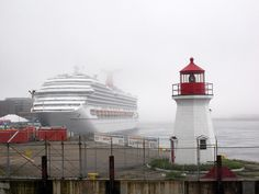 The Carnival Glory and a sweet little lighthouse in St. John, New Brunswick.