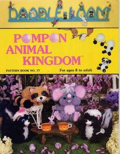 This fun vintage craft book gives patterns and instructions for making a wonderful collection of pom pon animals including a mouse family, a