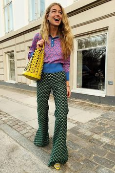 The 6 Pillars of Cool Spring Style Cool spring outfits: Emili Sindlev in clashing print Street Style Outfits, 70s Outfits, Mode Outfits, Spring Outfits, Fashion Outfits, 70s Inspired Outfits, Outfits 2016, Fashionable Outfits, Dressy Outfits