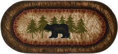 "Wholesale Rug Source Cozy Cabin Birch Bear Nonskid (Non Slip) Cute Lodge Kitchen Mat Rug, 20"" L x 44"" W"