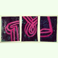 "Interstellar Valentines: Column, Guide, Ladle, mm on paper, 8""x10"", each, 2015.  Sarah Boyts Yoder"