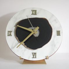 Black Agate Desk Clock with Marble Overlay Print on Wood!!