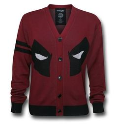 Stay warm and look cool with the 100% acrylic Deadpool Face Cardigan! Hey, that works out pretty well, doesn't it? I'm not sure if you'll want to be wearing this fine button-up cardigan as you scarf down Mexican food or berate Agent Bob but for other such endeavors you should be quite fine! If anything, I would just make sure that you aren't wearing the Deadpool Face Cardigan while watching Wolverine: Origins. It doesn't like that...<i>not one bit! </i><br />