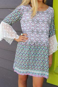 Annalise Purple & Green Print Lace Bell Sleeve Peasant Dress