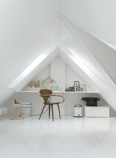 Monochromatic Loft Room in Copenhagen Townhouse