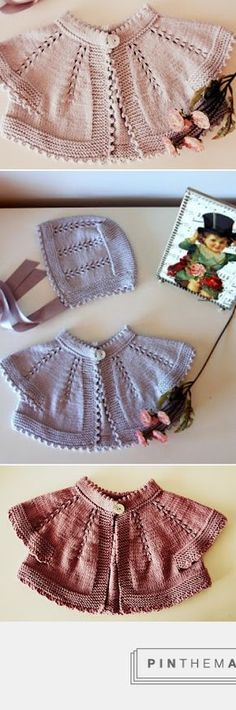 Oh the pretty baby sacque!! This site sells knits so a pattern is not provided, but details on their beautiful designs are worth noting for inspiration: top-down round yoke, picot hem at collar, combination of garter on buttonband, hem