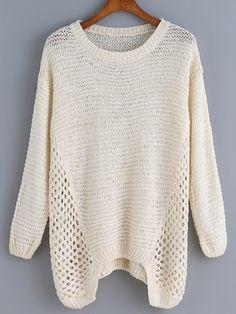 Long Sleeve Open-Knit Apricot Sweater 23.69