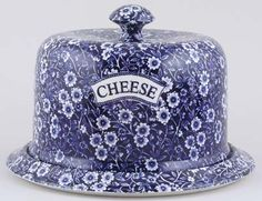 Burleigh - Calico - Cheese Dish Stilton Blue Dishes, White Dishes, Blue And White China, Blue China, Cheese Dome, Cheese Dishes, Blue Pottery, Vintage Dishes, Butter Dish