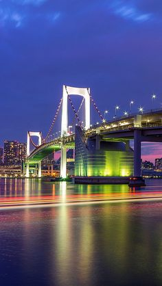 Tokyo Rainbow Bridge - The Rainbow Bridge features a stretched and beautiful shape like a rainbow over Tokyo Bay as its name suggests. It is a 798-meger suspension bridge spanning from Shibaura Pier and the Odaiba waterfront development in Minato Ward