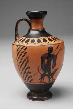 Lekythos con dos cazadores y perros y un hombre sentado