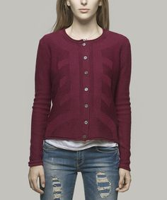 Another great find on #zulily! Maroon Willow Wool-Blend Cardigan - Women by Yoon #zulilyfinds