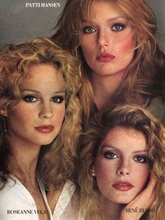 """""""Modern Appeal: Vitality of Four American Heroines"""", VOGUE US, June 1978 Photographer: Richard Avedon Models: Patti Hansen, Rosie Vela and René Russo Patti Hansen, Lauren Hutton, 70s Fashion, Fashion Models, Vintage Fashion, Rene Russo, Blond, Makeup Ads, 1980s Makeup"""