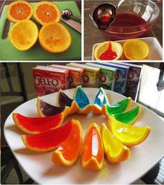 Like to make Jello shots? Here is a great new idea in which you scrape out the center of a sliced orange and pour the jello mix in the center to harden. Once the jello has hardened slice them in half and you have sliced jello shots :) Summer Bbq, Summer Parties, Summer Time, How To Make Jello, Inflatable Furniture, Bbq Party, Luau Party, Party Fun, Party Ideas