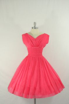 1950s Party Dress - Vintage Hot Pink Chiffon Ruched Waist Full Skirt Gorgeous Party Frock
