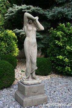 """Steinfigur """"Shy Girl"""" Antiksteinguss (winterfest) Garden Statues, Garden Sculpture, Serenity Garden, Shy Girls, Outdoor Decor, Stone Sculpture, Sculptures, Stones"""
