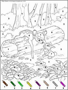 coloriage magique bambi
