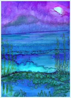 bright and beatiful nighttime scene ... impressioistc with blues, greens and purples ... alcohol ink technique ... gorgeous!!!