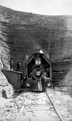 Engine in Raton Tunnel, New Mexico Photographer: J.R. RiddleDate: 1886 - 1888?
