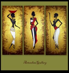 Original Painting African Women - Triptych - Large Size - Abstract Acrylic Palette Knife Painting - Contemporary Art - Gold Red. $170.00, via Etsy.