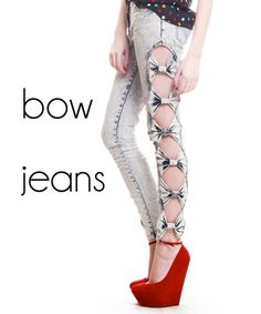 Style Cut Out Acid Stone Wash Skinny BOW JEANS Pants! Totally but very on trend now with the rise in Cut outs! Bow Jeans, Jeans Pants, Jeans Shoes, Shorts, 80s Fashion, Fashion Outfits, Fashion Trends, Before I Forget, Diy Clothing