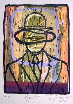 Luis Seiwald - Siedruck, Linolschnitt - Magritte 2013 - Auflage: 30