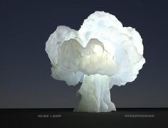 """Italian industrial designer, Luca Veneri, worked with 3D printing technologies in order to create this alluring table lamp that is shaped like a mushroom cloud explosion. The """"Nuke Lamp"""" is available for purchase and is delivered in two parts – the 3D printed piece as well as the Lamp kit with bulb and stand. The lamp's complex surfaces were created using real fluid dynamic stimulations. This one can be yours for   $1,439.36."""