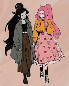 Adventure Time Marceline, Adventure Time Art, Adventure Time Princesses, Character Art, Character Design, Marceline And Princess Bubblegum, Fanart, Lesbian Art, Bubbline