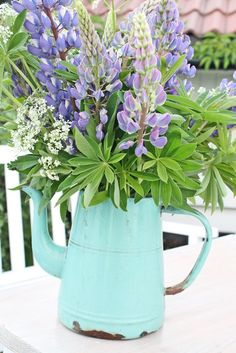 pretty flowers and metal container