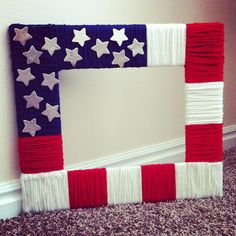 I think this might work with an Ellison picture frame if you use card stock. Yarn too time consuming? Use the general idea for kids to use markers! Use star stickers or Ellison mini stars--depending on  your size frame.   Perhaps add magnet strip to back for kids to frame drawings or pics of July 4th activities on their refrigerators.