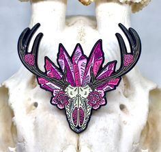 Crystal Flower Mandala Deer Skull Soft Enamel Pin by TheDrawOfTheVoid on Etsy