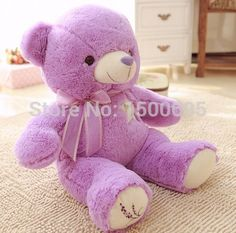 Caliente venta 60 cm envío gratis Lavender oso de peluche muñeco de peluche almohada muñeca regalo de cumpleaños regalos de los niños(China (Mainland))