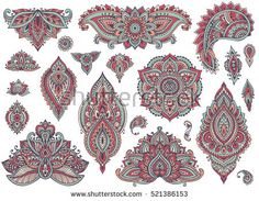 Big vector set of colorful henna floral elements and frames based on traditional Asian ornaments. Paisley Mehndi Tattoo Doodles collection