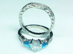 Heart Shape Diamond Engagement Ring & Matching Wedding Ring Hand Engraved in 14K White Gold - ES1103HSBSBS