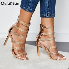 3b16321ce408 MeiLiKeLin Rhinestone Women Gladiator Pumps Sexy Band Sandals Roamn High  Heeled Rock Street Beat Party Shoes Female Ladies Pumps
