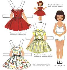 The website of Terry Pettit is dedicated to vintage paper dolls, these dolls to cut and dress. You will find a doll, Betsy McCall, and his family and their clothes from 1951 to - Paper Doll Template, Paper Dolls Printable, Vintage Paper Dolls, Vintage Toys, Doll Clothes Patterns, Clothing Patterns, Paper Toys, Paper Crafts, Sailor Dress