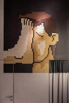 YOD Group describes the coffee bar's standout feature as the large street-facing mosaic that greets customers on the wall, which is designed to resemble pixels on a digital screen. Bathroom Design Inspiration, Interior Inspiration, Mosaic Tiles, Mosaics, Cool Cafe, Print Patterns, Projects To Try, Coffee, Texture