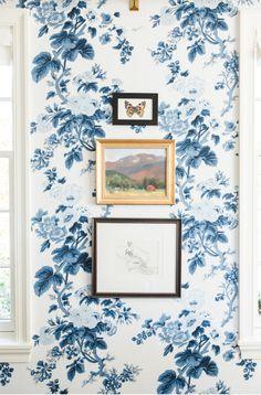 Blue floral wallpape