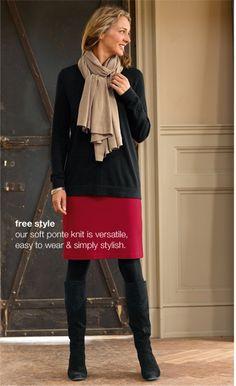 Easy V-neck sweater, ponte knit skirt and silk  cashmere wrap | www.jjill.com