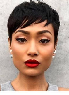 50 Gorgeous Side Swept Bangs Hairstyles For Every Face Shape - Part 24 Longer Pixie Haircut, Short Pixie Haircuts, Cute Hairstyles For Short Hair, My Hairstyle, Pixie Hairstyles, Curly Hair Styles, Natural Hair Styles, Black Pixie Haircut, Haircut Long