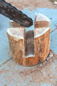 wood stool with chainsaw